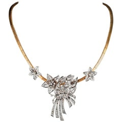 Art Deco 5.0 Carat Diamond Flower Spray Necklace Clip Brooch