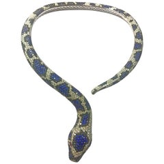Amazing Snake Necklace 81 Carat Diamonds Black Diamonds Blue Sapphire Rubies