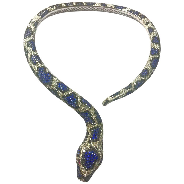 Amazing Snake Necklace 81 Carat Diamonds Black Diamonds Blue Sapphire Rubies