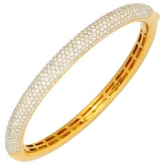6 Carat Diamond and Gold Bangle Bracelet