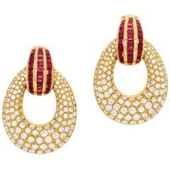 6.50 Carat Diamond, Ruby and Gold 'Day/Night' Ear Pendants