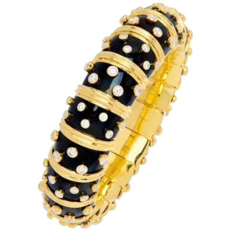 Schlumberger, Tiffany & Co. Diamond, Enamel and Gold Bangle Bracelet