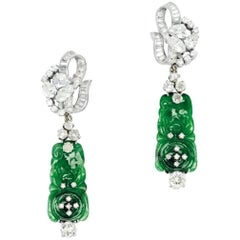 6.60 Carat Diamond and Jadeite 'Day/Night' Ear Pendants