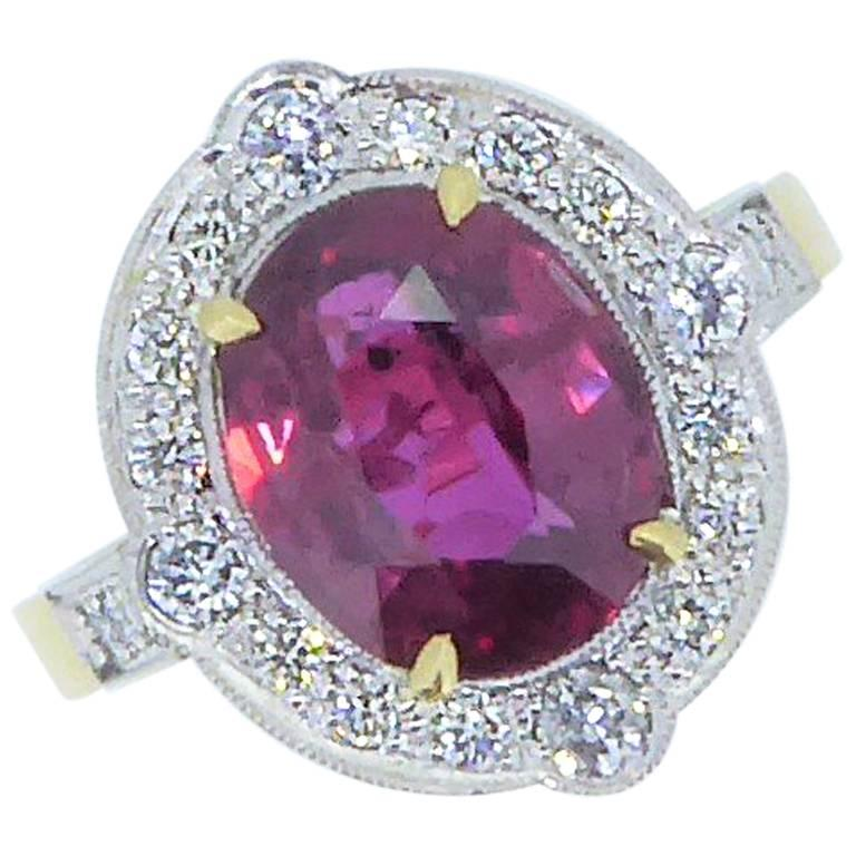 Unheated Natural Thai Ruby, Diamond, 18 Carat Gold and Platinum Cluster Ring