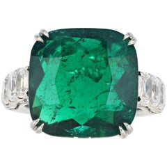 10.14 Carat Cushion Cut Colombian Emerald Ring