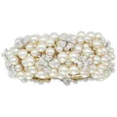 4 Carat Diamond and Cultured Pearl Bracelet