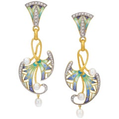 Masriera 18 Karat Yellow Gold Plique-a-Jour Enamel and Pearl Nile Drop Earrings