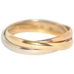 Cartier 18 Karat Gold Trinity Tri-Color 20th Century Ring