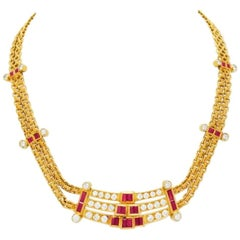 4 Carat Ruby, 3.75 Carat Diamond and Gold Necklace