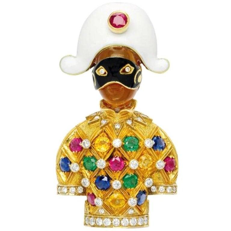 Nardi, Multi-Gem, Enamel and Gold Harlequin Clip Brooch