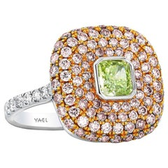 GIA Cert Fancy Intense Yellowish Green Diamond Pink Diamond White Diamond Ring
