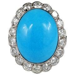 Edwardian Natural Persian Turquoise and Diamond Platinum Ring