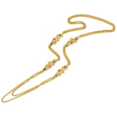 Long Double Strand Multi-Gem and Gold Necklace