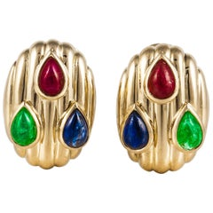 David Webb Sapphire Ruby Emerald Earrings