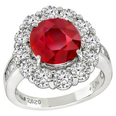 2.63 Carat GIA Certified No Heat Ruby Diamond Halo Ring