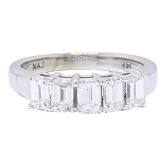 Emerald Five-Stone 1.50 Carat Diamond Wedding Band Ring 14k White Gold F VS
