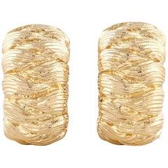 18 Karat David Webb Textured Gold Hoop Earrings
