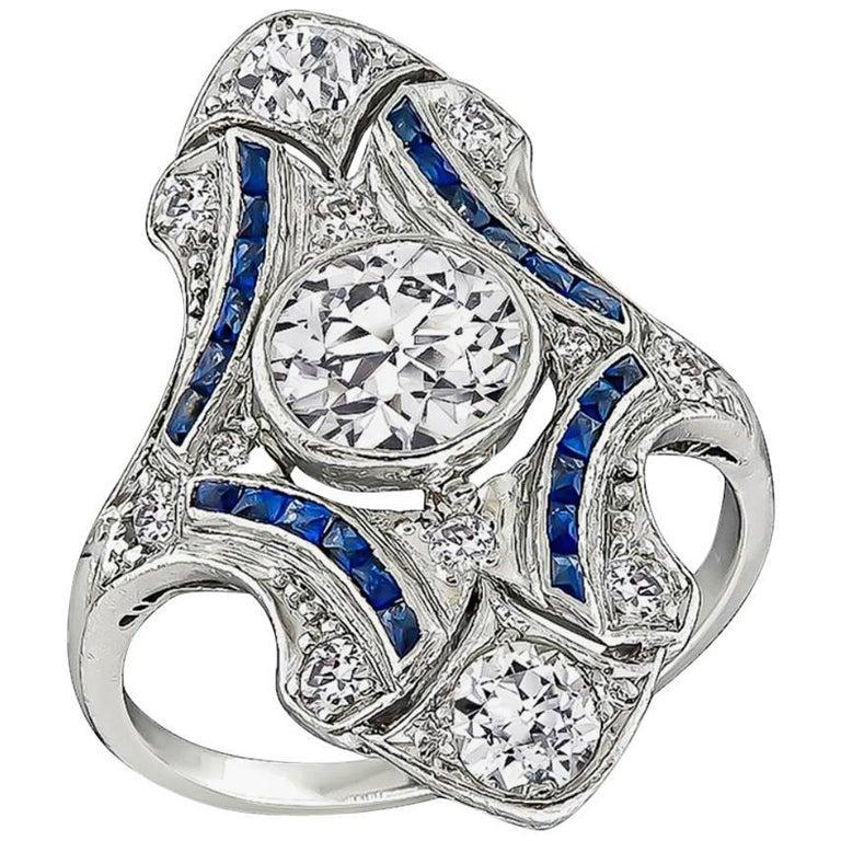 Art Deco Old European Cut Diamond Sapphire Platinum Shield Ring