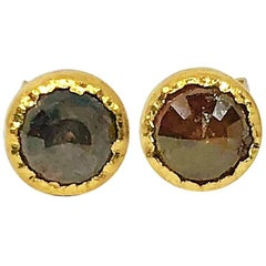 Sarah Appleton 18 Karat Reverse Set Brown Diamond Cutlet Stud Earrings