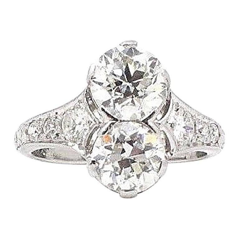 Antique Old European Cut 2.27 Carat Diamond Ring in Platinum