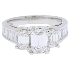 Emerald Cut 3.00 TCW Past Present Future Diamond Engagement Ring 14k White Gold