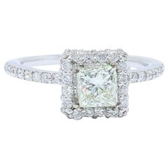 Diamond Engagement Ring Center Princess Cut Halo Design 1.11 TCW 14K White Gold