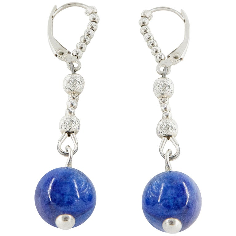 Sodalite and Sterling Silver Dangle Earrings