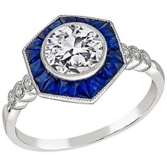 GIA Certified 1 Carat Diamond Sapphire Engagement Ring