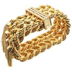 French Retro 18 Karat Braided Gold Tassel Bracelet