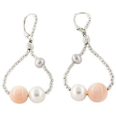Freshwater Pearl and Coral Drop Earrings with Sterling Silver Diamond Cut Beads