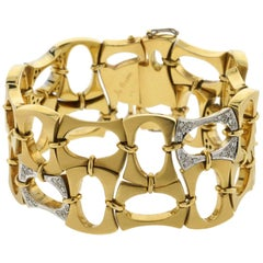Boris LeBeau 18 Karat Retro Bracelet with .80 Carat of Diamonds