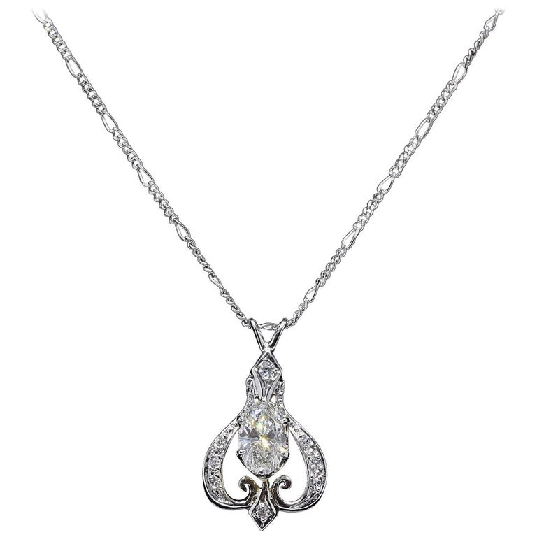 Oval Diamond Pendant Necklace 1.25 Carat 14 Karat White Gold