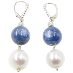 Freshwater White Pearl and Sodalite Bead Dangle Earrings