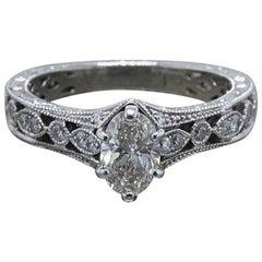Neil Lane Oval Diamond Engagement Ring 3/4 TCW in 14 Karat White Gold