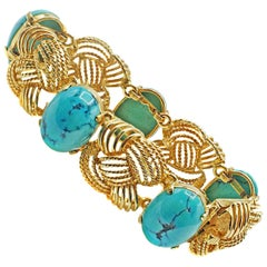 Charming Retro Turquoise Gold Bracelet