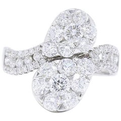 Diamond Pave Pear Shape Cocktail Ring Round Cuts 2.11 Carat in 18 Karat Gold