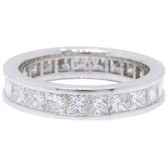 Princess Diamond Eternity Band Ring Channel Set 2.30 Carat in 14 Karat Gold