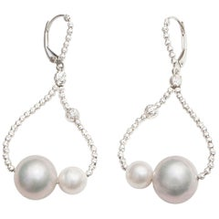 Grey and White Pearl Dangle Earrings with Sterling Silver Diamond Cut Beads