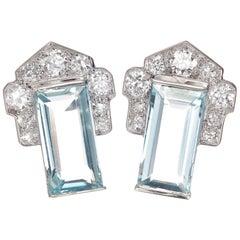 3.40 Carat Aqua Diamond Art Deco Cluster Earrings