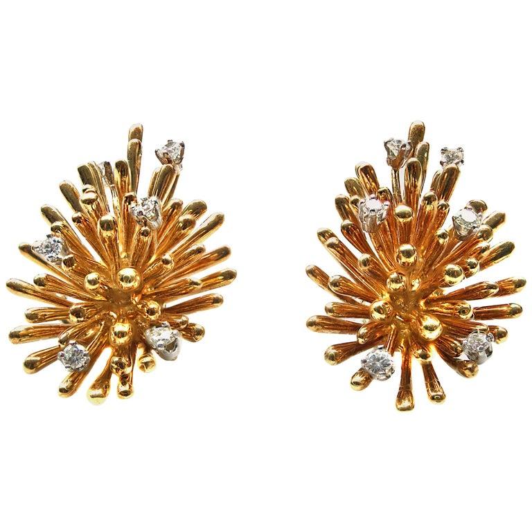 1960s Diamond 18 Karat Yellow Gold Ear Clips