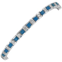 5.00 Carat Total Weight Sapphire Diamond Estate Bracelet White Gold