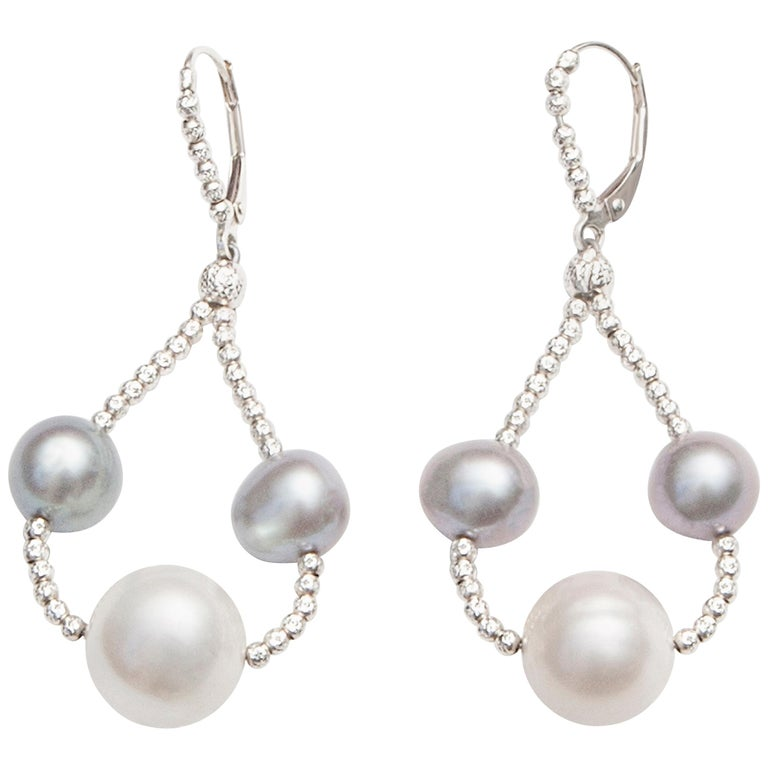 Grey and White Pearl Drop Earrings
