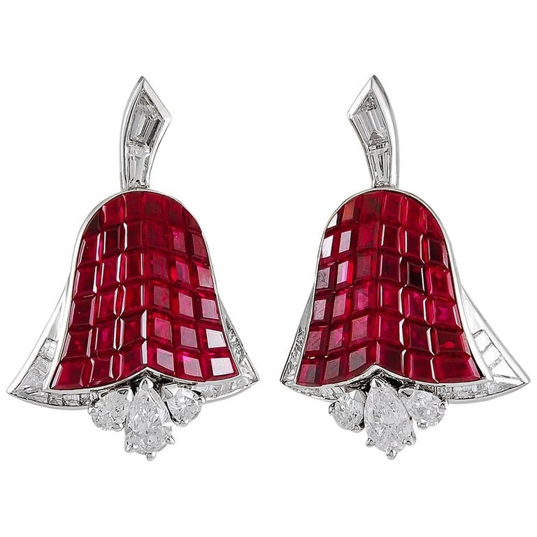 Vintage Van Cleef & Arpels Paris Mystery-Set Ruby Diamond Tulip Ear Clips