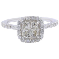 Radiant Cut Diamond Engagement Ring 1.70 Carat Halo Design in 14 Karat Gold