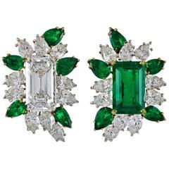 Cartier Two-Tone Emerald-Cut Diamond, Emerald Ear Clips