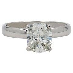 Cushion Diamond Engagement Ring Solitaire 1.58 Carat in 14 Karat White Gold
