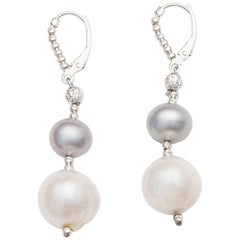 Freshwater Grey and White Pearl Dangle Earrings