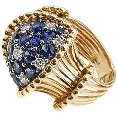 1950s Retro Sapphire Diamond Gold Cocktail Ring