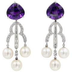 Fancy Cut Amethyst, Diamond, and Pearl Dangle Earrings in White Gold