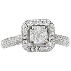 Simon G. Cushion Diamond Pave Ring 1.45 CTS in 18 Karat White Gold
